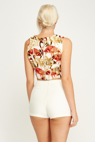 Flamingo Print Crop Top