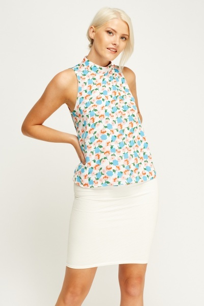 Floral Wrap Sleeveless Top