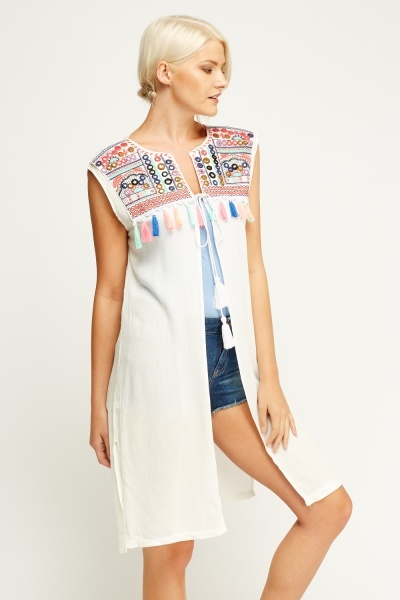Geo Embroidered Cover Up Top