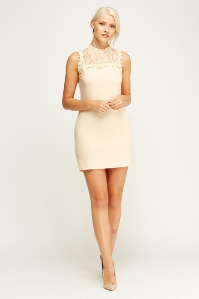 Lace Insert Ribbed Dress