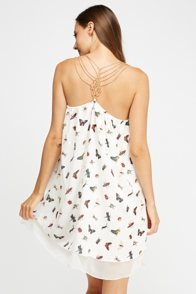 Chain Detailed Back Printed Dress