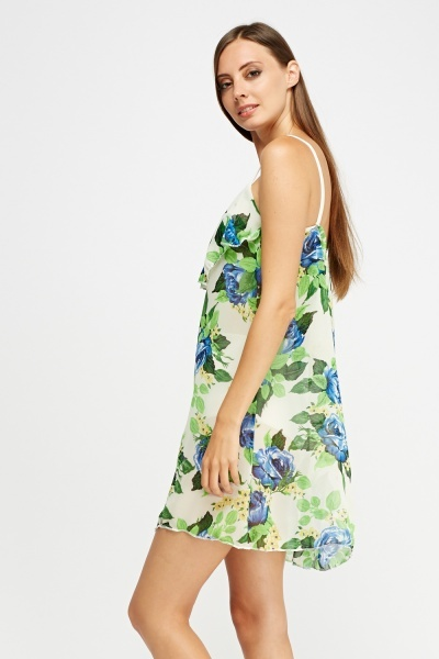 Flare Overlay Floral Mini Dress