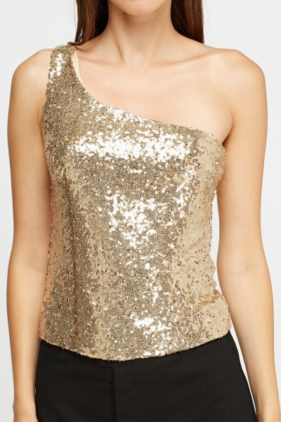 One Shoulder Sequin Top