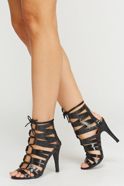 Animal Print Strappy Tie Up Heeled Shoes