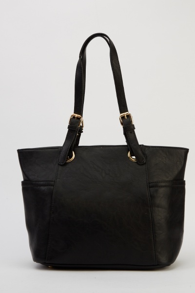 Image of Buckled Handle Faux Leather Bag