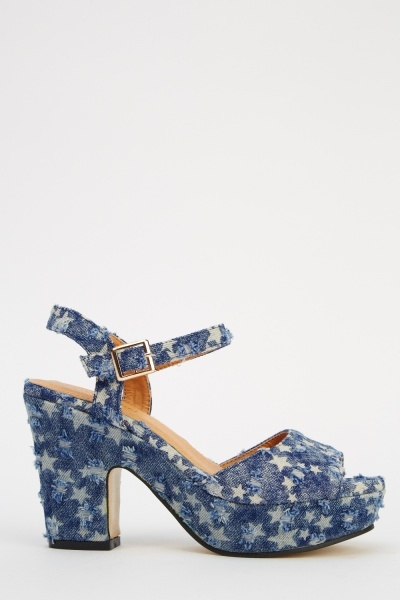 Distressed Star Print Block Heel Sandals