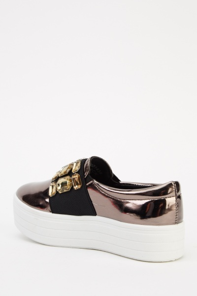 Embellished Holographic Slip On Shoes