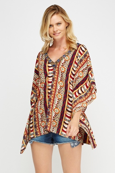 Embellished Mix Print Cover Up