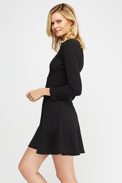 Flared Hem Fitted Dress