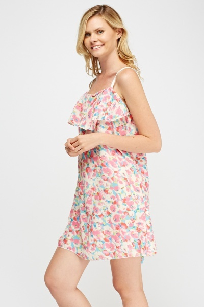 Flower Printed Fared Dress