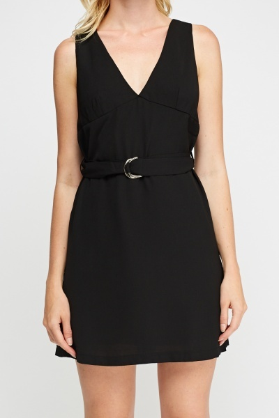 Plunge Belted Dress