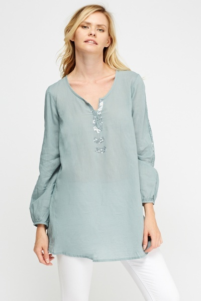 Sequin Detail Tunic Top