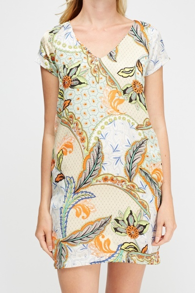 Silky Mix Print Dress