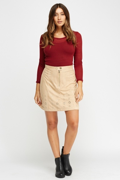 Detailed Hem Suedette Skirt