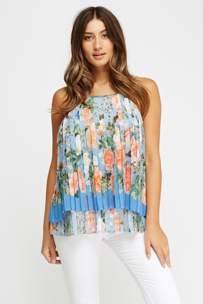 Floral Print Pleated Cami Top