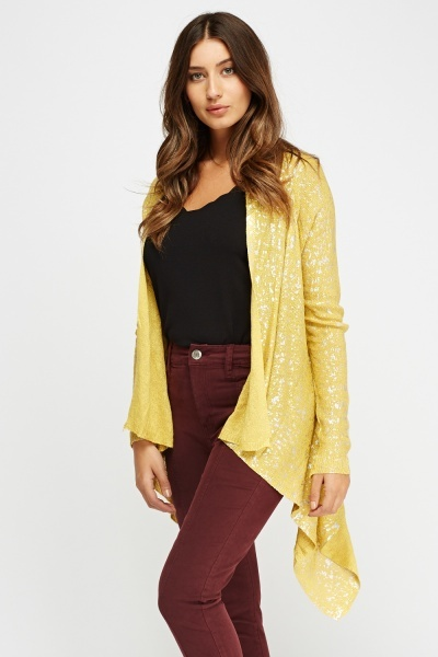 Knitted Asymmetric Metallic Insert Cardigan