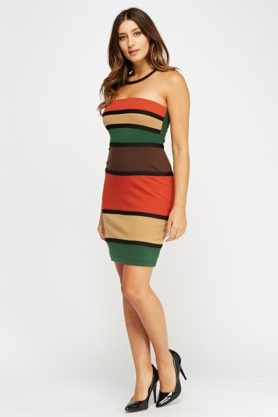 Multi Stripe Bandeau Mini Dress