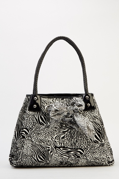 Image of Animal Printed Textured Bag