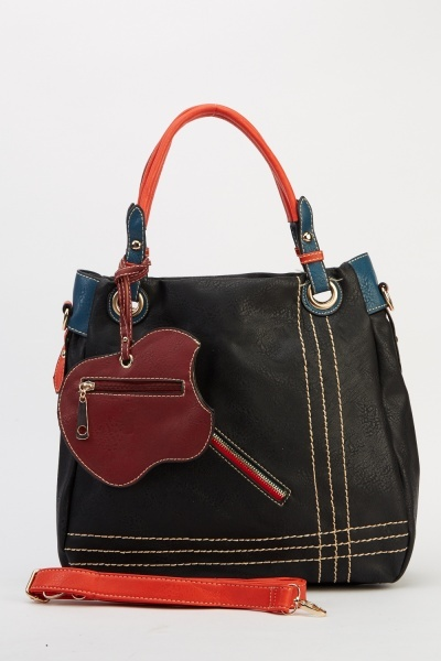 Image of Detailed Faux Leather Tote Bag