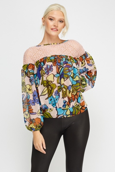 Image of Contrast Floral Printed Ruched Top