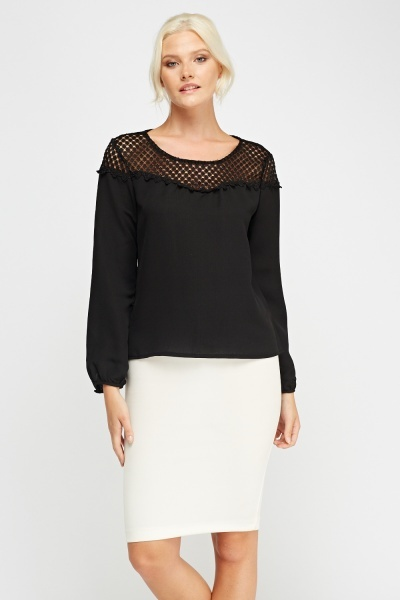 Mesh Insert Long Sleeve Top