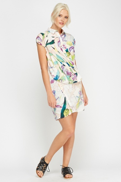 Printed Wrapped Shirt Dress