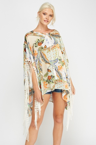 Tassel Trim Printed Cover Up Top