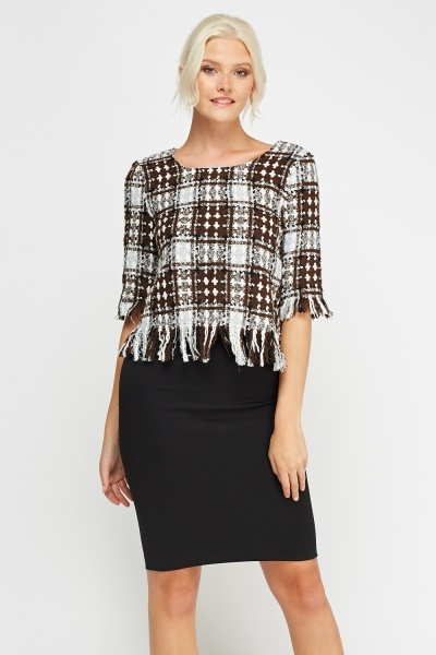 Woven Fringed Hem Box Top