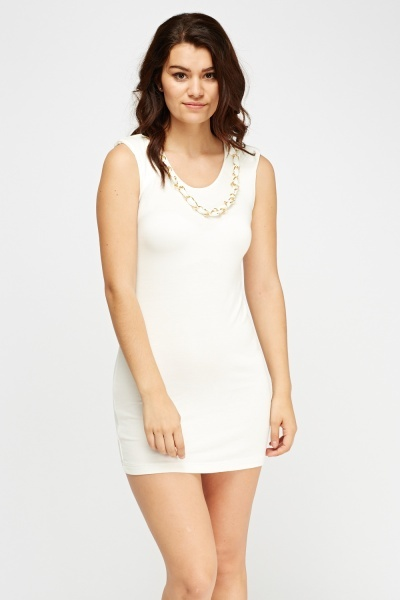 Chain Detailed Neck Mini Dress