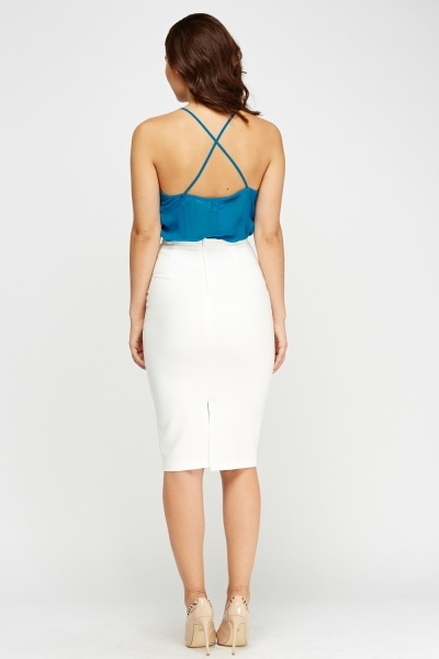 Ivory Twist Knot Midi Skirt