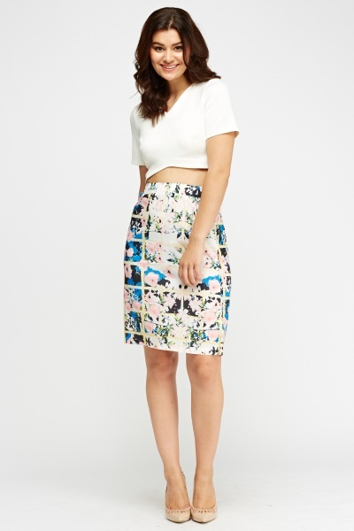 Mixed Floral Print Skirt