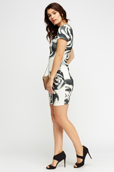 Rose Printed Bodycon Dress