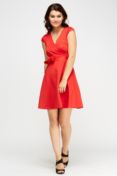 Wrapped Red Midi Dress