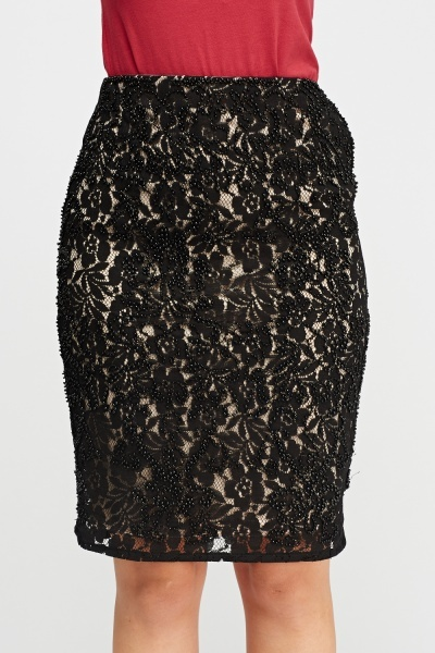 Beaded Lace Overlay Skirt