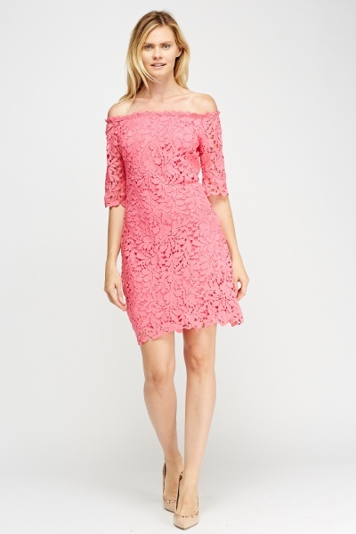 Laser Cut Lace Overlay Midi Dress