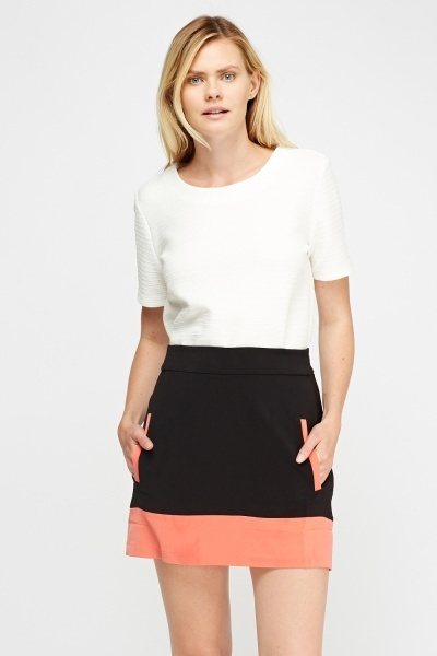 Colour Block Mini Skirt