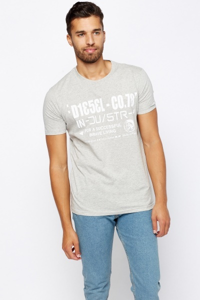 Diesel Printed Grey T-Shirt