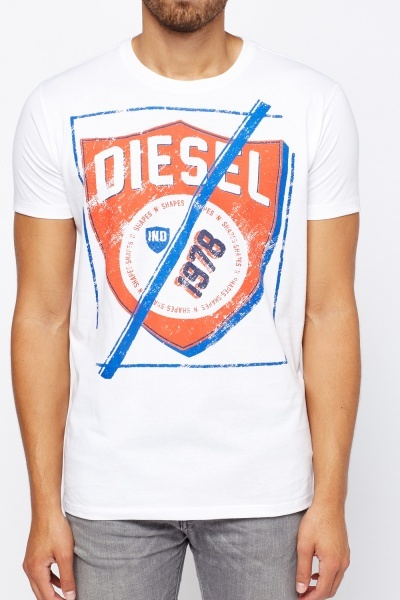 Diesel White Printed T-Shirt