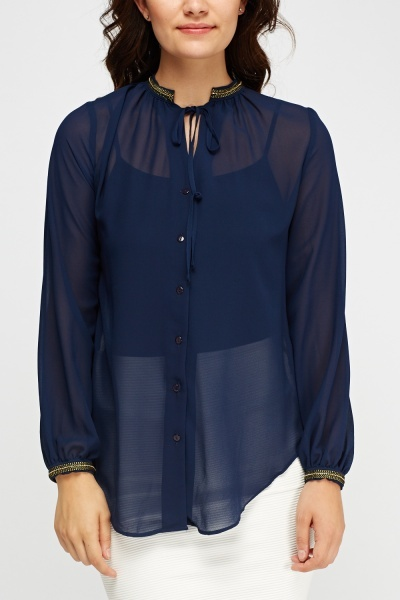 Embroidered Neck Sheer Blouse