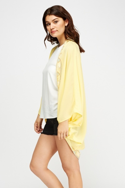 Embroidered Trim Batwing Cover Up