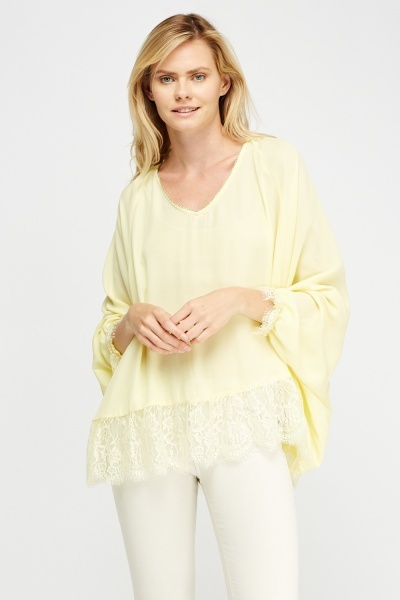 Encrusted Trim Lace Hem Top