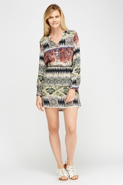 Geo Printed Tunic Dress
