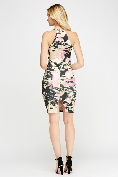 High Neck Floral Dress