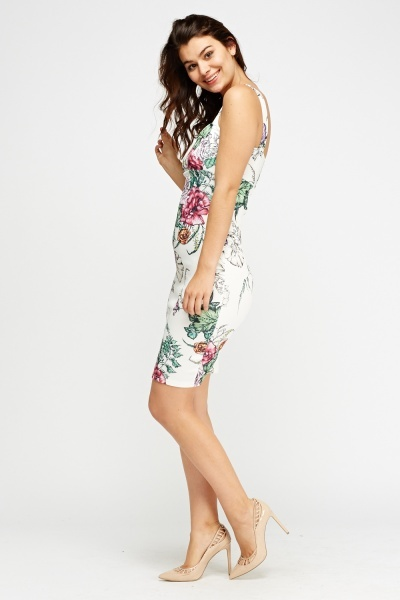 Mix Floral Bodycon Dress