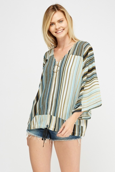 Mixed Print Zip Up Top