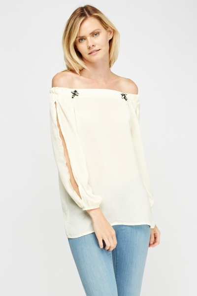 Off Shoulder Embellished Fly Top