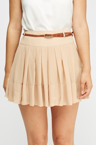 Pleated Belted Mini Skirt