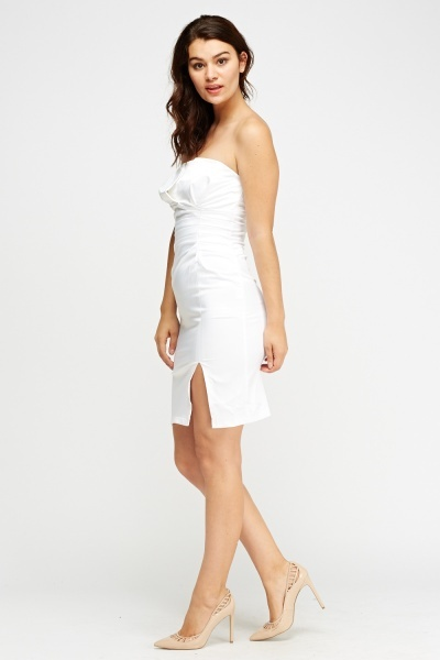 Ruched Silky Bandeau Mini Dress