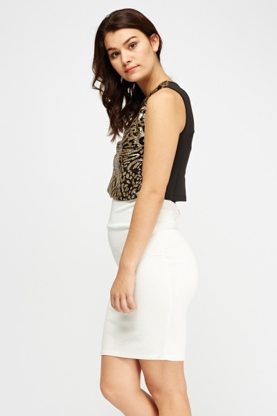 Sequin Front Crop Top