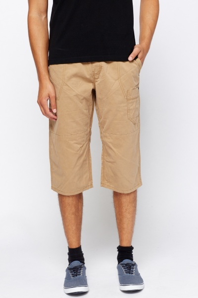 Beige Contrast Casual Shorts